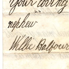 Christmas Thank You Letter from his nephew Willy Balfour 1st January 1878 page4