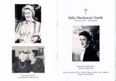 Julia Mackenzie Smith      29 January 1931 - 15 May 2016