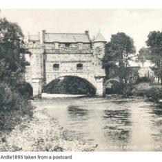 Bridge house from river 1895 postcard