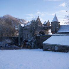 Bridge house in snow