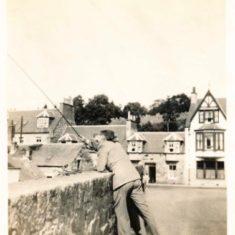 F.J. Manning fishing on KIrkmichael Bridge 1937