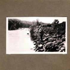Mr Manning fishing in the River Ardle August 1937