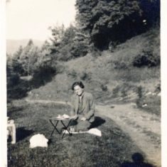 Mrs Manning camping on Balvarran 1937