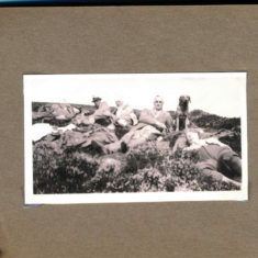 Taking a nap after the shoot Mr Manning on left August 1937