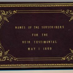 Cover of Patrick Keir testimonial to which the Shaw males contributed