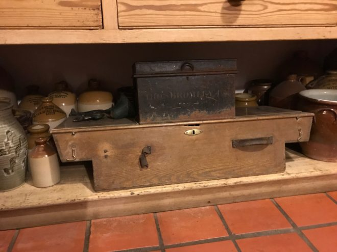 This is the box found at Dirnanean that contained lots of letters, wage books, rent books and farm information for the Kindrogan Estate. The owners were the Small Keir Family.