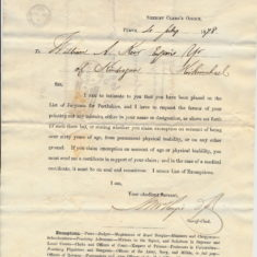 A letter for jury service july 1878 for William Keir