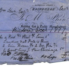 receipt for fishing tackle for william