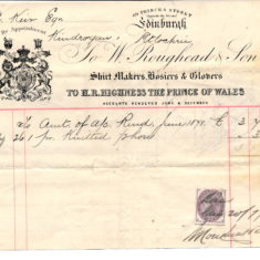 A receipt for his shirts made in Edin also used by HM Prince of Wales
