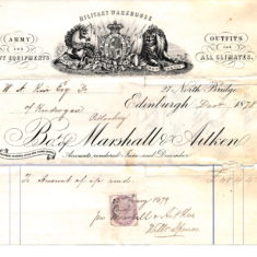 Outfitters bill paid by his father after he had left on his travels. £48 in 1879 would be £6003.92 in 2020.