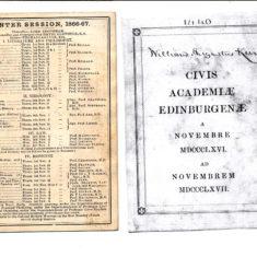 Edin Uni Courses Nov 1866-1867 W Keir