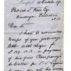 Pacific Steamer co to P Keir re payment for passage of W Keir 10 Oct 1878. Cost £125 in 1878 = £13875 in 2018. page1.