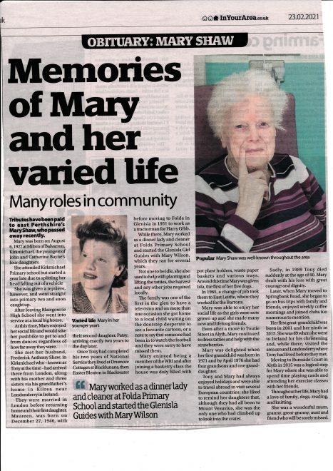 Obituary of Mary Shaw 1927-2021